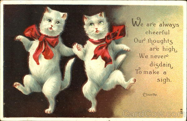 Dancing Cats Red Bows