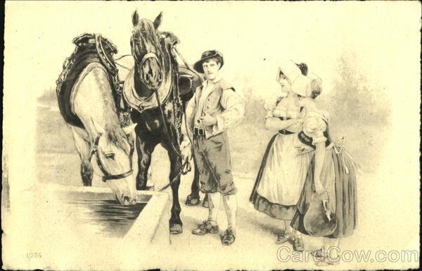 Young Man and Women with Horses
