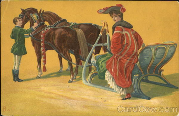 Woman with Sled Horses