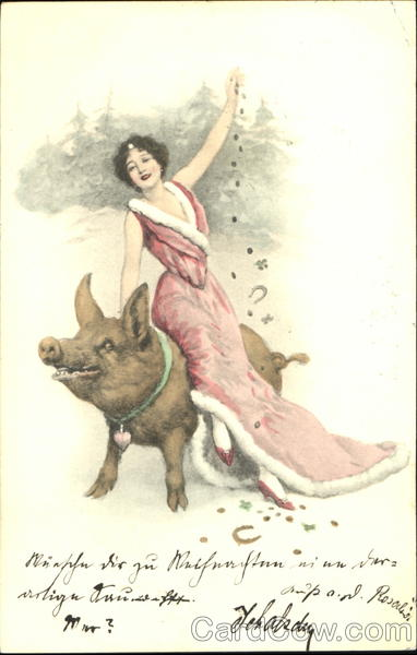 Woman on Pig Pigs