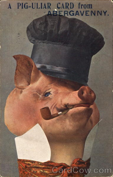 A Pig-uliar Card From Abergavenny Pigs