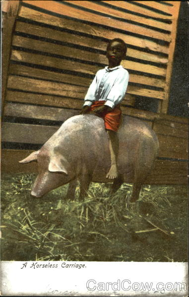 A Horseless Carriage Pigs Black Americana