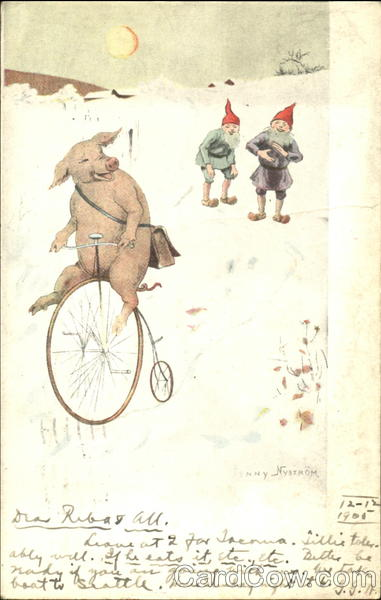 Pig on Bicycle Elves Pigs Bicycles