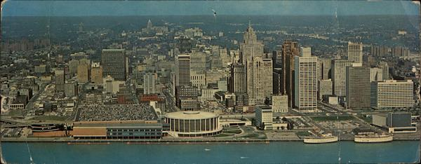 Aerial View Of Detroit's Civic Center And Skyline Michigan