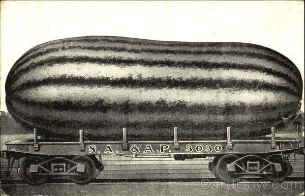 Watermelon on Railcar Exaggeration