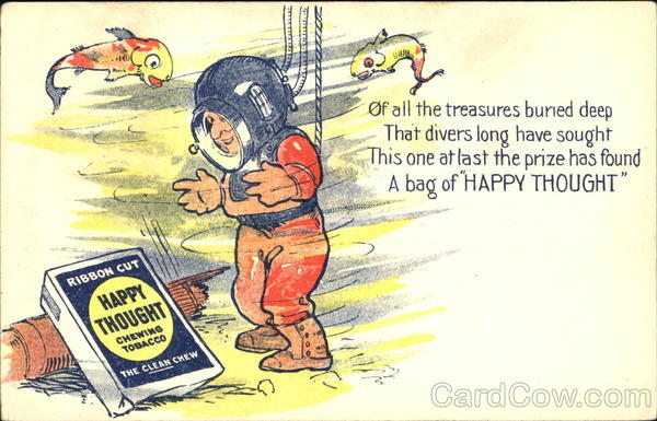 Happy Thought Chewing Tobacco Advertising Divers