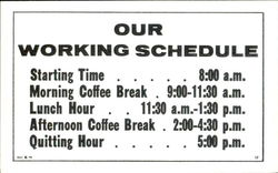 Our Working Schedule