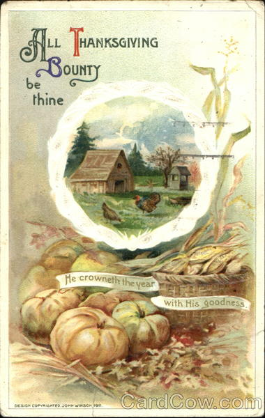 All Thanksgiving Bounty Be Thine Vintage Post Card
