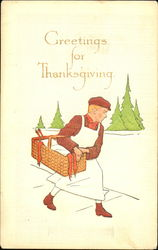 Greetings For Thanksgiving Postcard