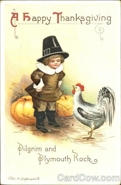A Happy Thanksgiving Ellen Clapsaddle Pilgrims