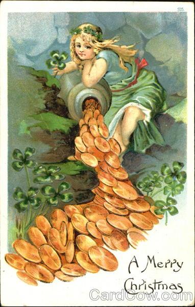 A Merry Christmas Antique Postcard