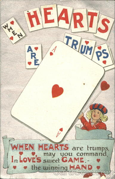 When Hearts Are Trumps Vintage Post Card