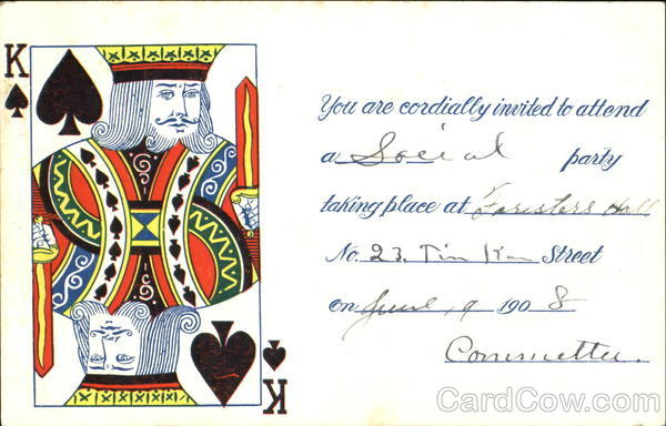 King of Spades Invitation Card Games