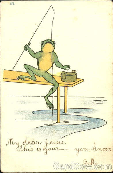 Frog with a fishing pole Frogs