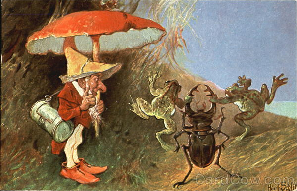 Gnome With Frogs and Beetle Heinrich Schlitt