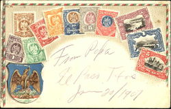 Republic of Mexico stamp postcard