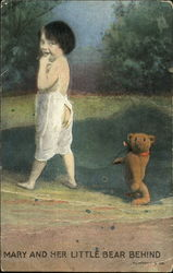 Mary And Her Little Bear Behind Postcard