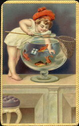 "Child ""Fishing"" from a Fishbowl"
