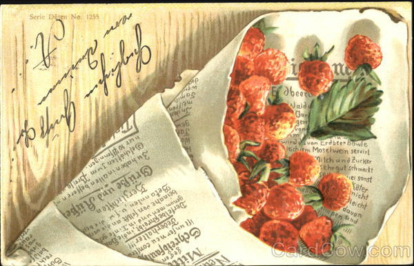 Bouquet of strawberries wrapped in newspaper Fruit