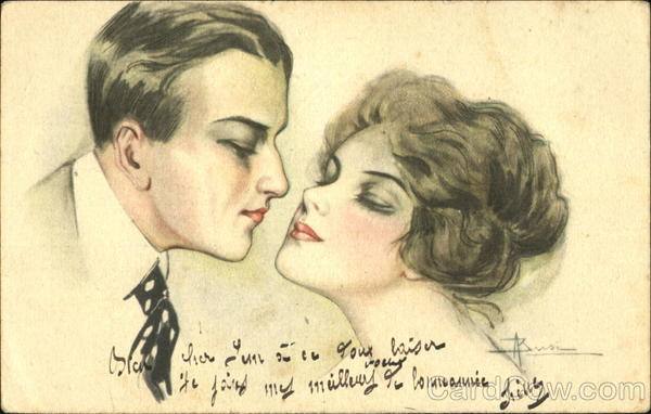 Man kissing a woman Adolfo Busi Artist Signed
