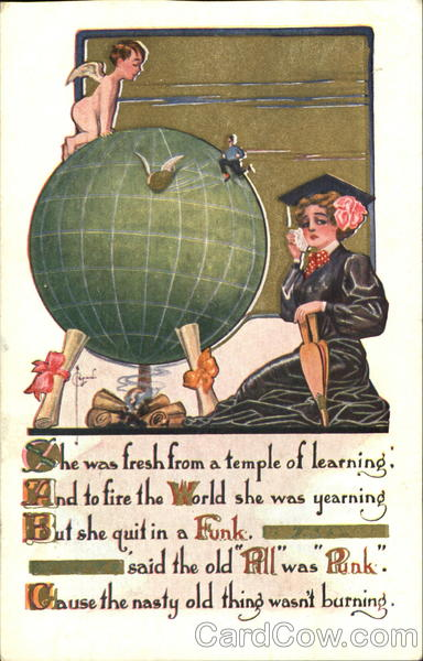 A woman graduate sitting in front of a globe which has Cupid on it and diplomas under it