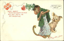 Monkey dressed in jacket and dress with a rose on his head with dog watching
