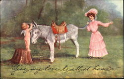Woman in a pink dress holding the tail of a donkey, while a naked child angel whispers in the donkey's ear