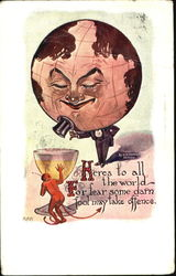 Man in tuxedo and head of the globe looking down at a cup with the devil hiding behind it