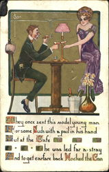 Well-dressed couple drinking wine