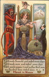 A woman in the middle in front of a cup with the devil on the left and God's arm and a rich suitor on the right