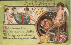 Man and woman in love with a cupid in a glass of champagne and three cupids pushing a laundry basket
