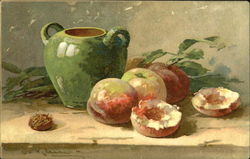 Peaches with green vase