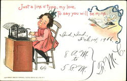 Just a line o' type, my love, to say you will be mine Postcard