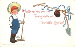 Red-haired boy with a rake