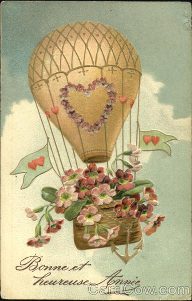 Hot Air Balloon with flowers in the basket Easter
