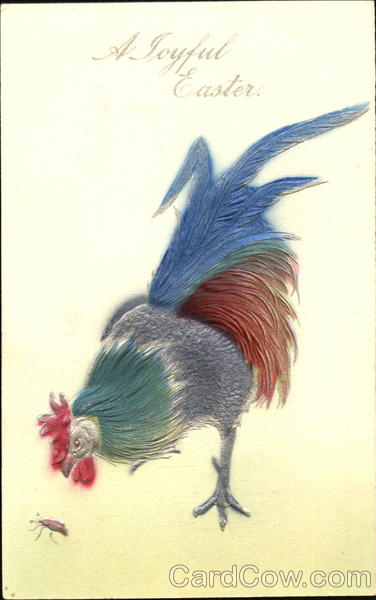 Rooster Eating Bug With Chicks Airbrushed