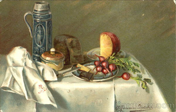 Radish and Cheese Still Life A. Gammius-Boecker Artist Signed