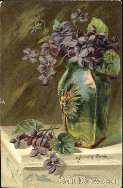 Vase with Purple Flowers A. Gammius-Boecker Artist Signed