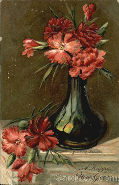 Red flowers A. Gammius-Boecker Artist Signed