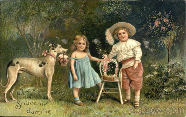 Two children with their Easter baskets Dogs