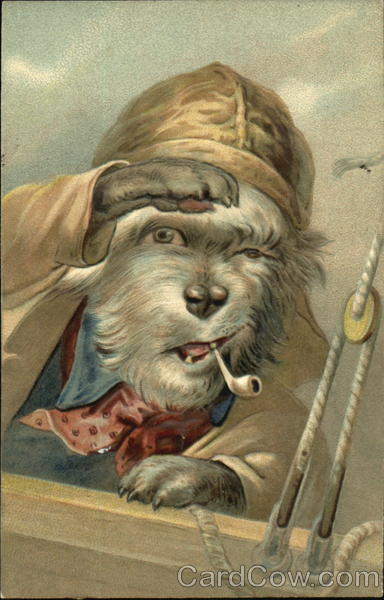 Dog smoking pipe on ship Dogs