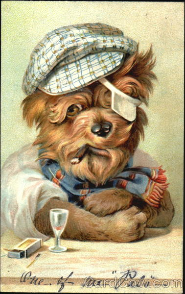 Dog with a cigar and glass of alcohol Dogs