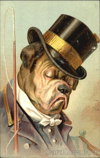 Top-hatted John Bull Dog in a Scowly Mood Dogs