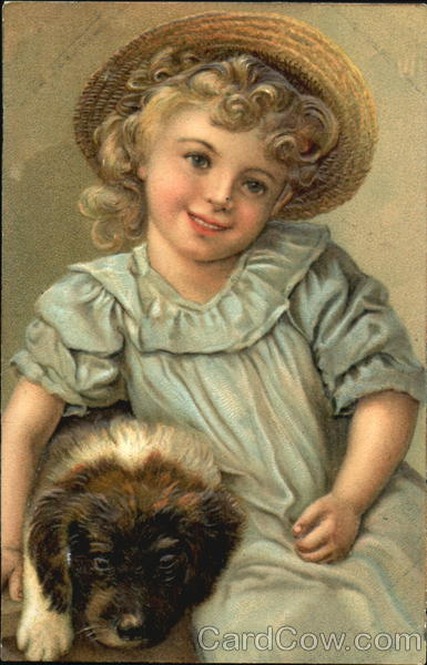 Girl in Bonnet with Puppy Dogs