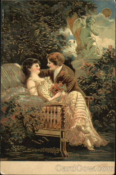 Two lovers sitting in a garden being watched over by a statue of Cupid