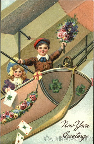 Two Children on Airship Aircraft