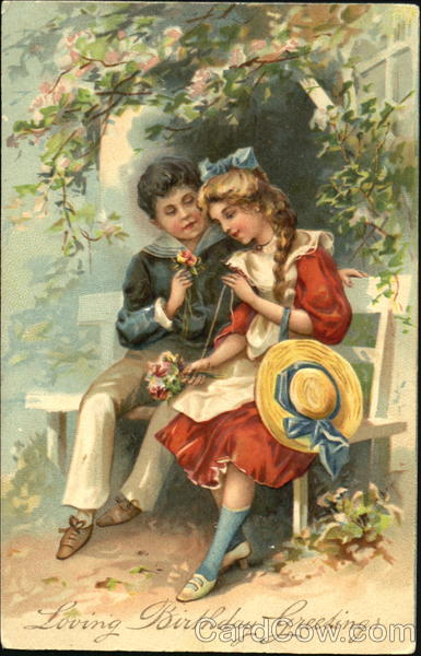 Young Couple with Flowers Romance & Love
