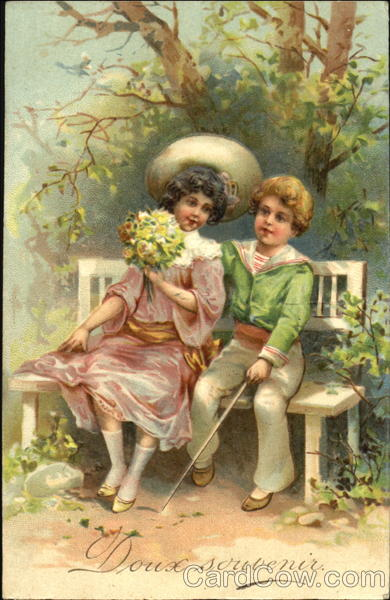 Young girl and boy sitting on a bench Romance & Love