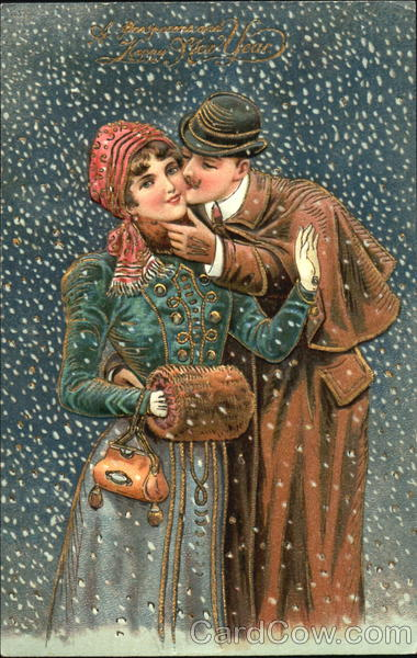 Couple Kissing in the Snow Romance & Love