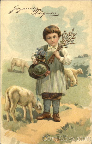 Boy with Three Sheep With Lambs